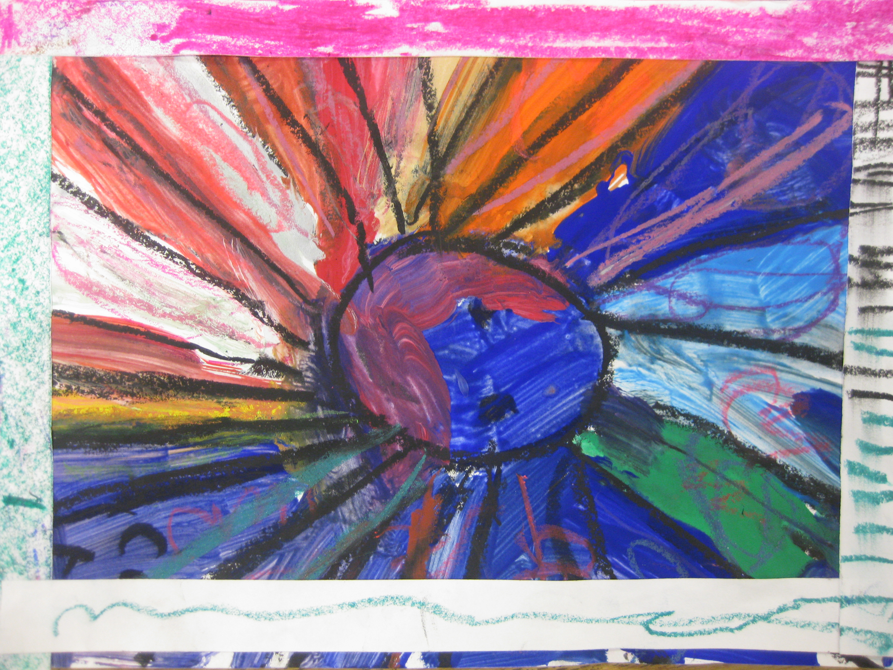 They Created An Abstract Painting And Used Oil Pastels To Add Patterns In Contrasting Colors